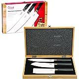 Sushi Ceramic Knife Set- 3 Piece Sashimi, Santoku and Nakiri Knives with Wooden Carrying Case