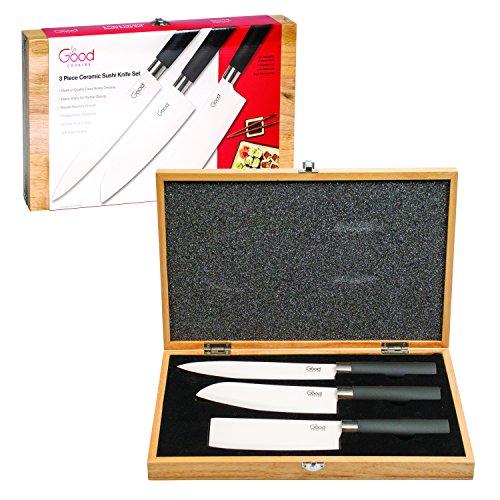 Knives Set - 3pc Ceramic Sashimi, Santoku and Nakiri Sushi Knife Set with Wood Case