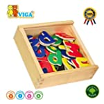 Wooden Magnetic Letters 52 Piece