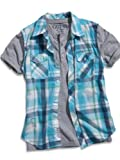 GUESS Kids Boys Big Boy Woven Knit Two-Fer Top