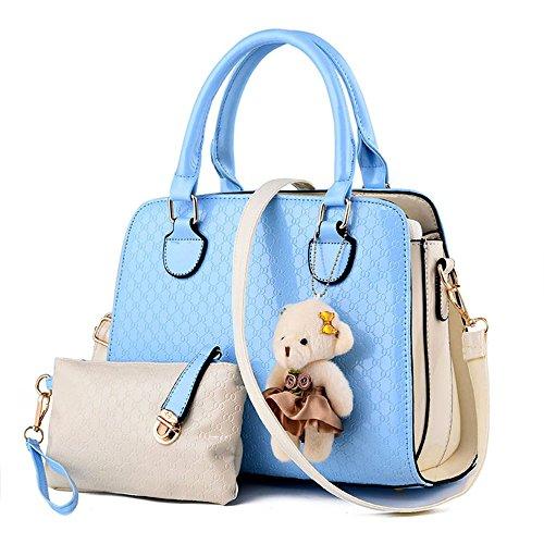 womens-2-piece-tote-bag-pu-leather-top-handle-handbag-purse-bags-set-blue