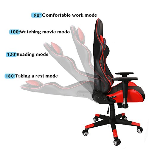 Kinsal Gaming Chair High Back Computer Chair, Ergonomic Racing Chair ,  Leather Premium Lumbar Support Swivel Executive Esports Office Chair  Including ...