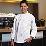 8 Knot Button Chef Coat White, with Free Black Bib Apron