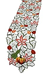 Xia Home Fashions Harvest Squash Embroidered Cutwork 8 by 30-Inch Fall Table Runner, Mini