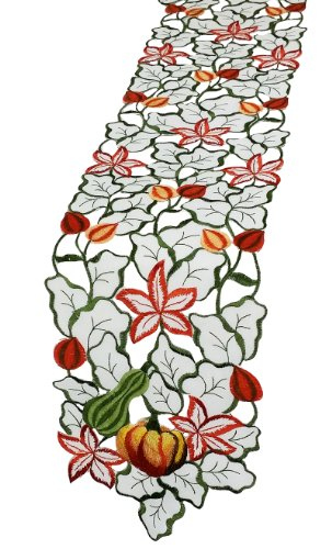 Xia Home Fashions Harvest Squash Embroidered Cutwork 8 By 30-Inch Table Runner, Mini front-518138