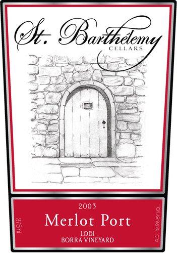 2003 St. Barthelemy Cellars Merlot Port 375Ml