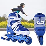 Fashine Adjustable Flashing Inline Skates, All Wheels Light Up, Fun Illuminating Rollerblades for Kids and Ladies, Roller Skating