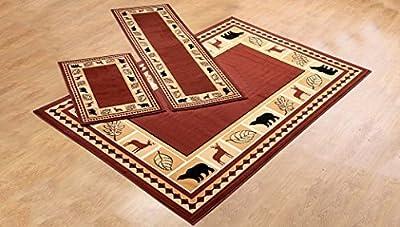 3 Piece Area Rug Set Transitional Modern Floral Oriental Geometric Bear Moose Carpet