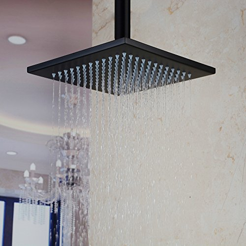 HiendureTM Stainless Steel Bathroom Square Rainfall Shower Head 12 Inch,oil Rubbed Bronze Without Shower Arms (12 Bronze Rain Shower Head compare prices)