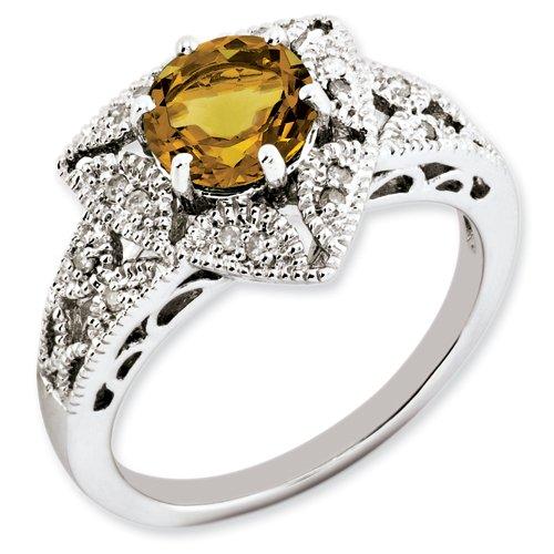 Sterling Silver Whisky Quartz & Diamond Ring