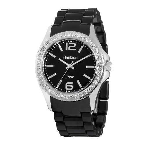 Armitron NOW Women's 753935BKBK Swarovski Crystal Accented Silver-Tone and Black Watch
