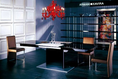 Vig Furniture Armani Xavira 5 Piece Dining Set Extendable Dining Table & 4 Gold Side Chairs