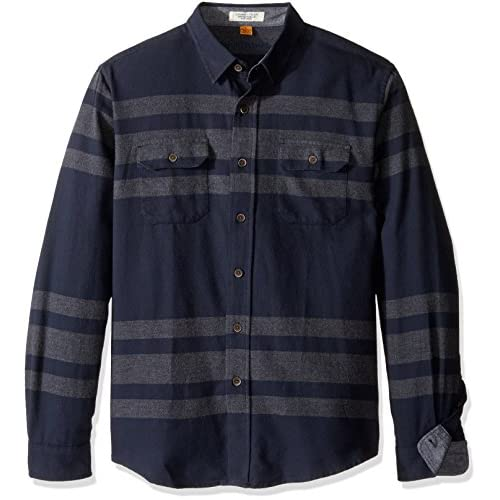 Tailor Vintage Men's Long Sleeve Navy Placed Striped Flannel Button Down Shirt