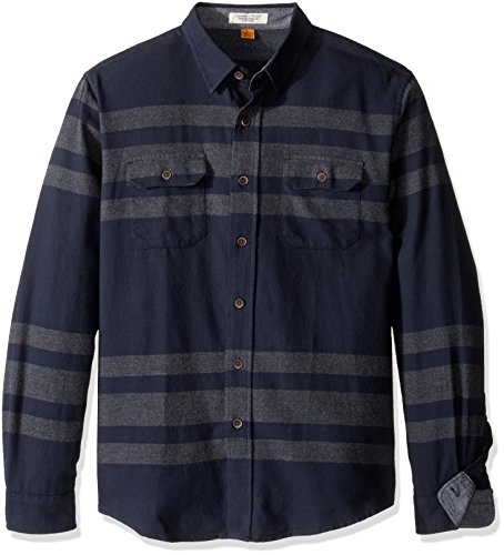 Tailor Vintage Men's Long Sleeve Navy Placed Striped Flannel Button Down Shirt 0