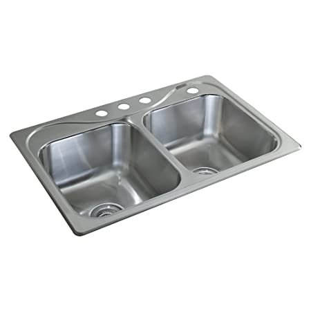 Sterling 11850-4-NA Southhaven 33-inch by 22-inch Top-mount Double Equal Bowl Kitchen Sink, Stainless Steel