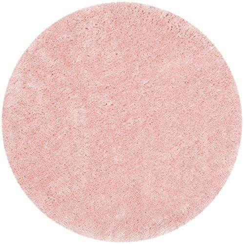 Safavieh Arctic Shag Collection SG270P Handmade Pink Round Shag Area Rug, 5 feet in Diameter (5' Diameter)