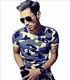 (ボナスティモーロ) Buona stimolo 迷彩 柄 Tシャツ 半袖 タクティカル サバゲー メンズ アウトドア (04:ブルー系 2XL)