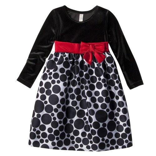 Girls' Cherokee® Black/White Polka Dot Holiday Dress 5