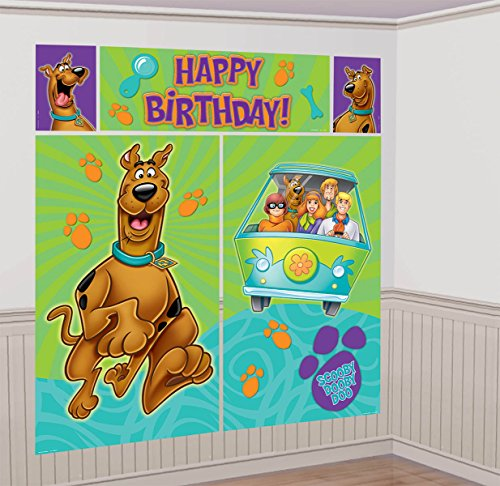 "Awesome Scooby Doo Scene Setters Wall Dec Kit Birthday Party Decoration, 59 x 65"", Teal/Purple/Green"