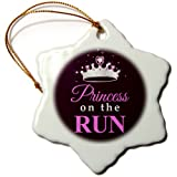"3dRose LLC orn_161533_1 Porcelain Snowflake Ornament, 3-Inch, ""Princess on The Run-Black-Hot Pink Text-Silver Tiara Crown-Girl Running Race"""