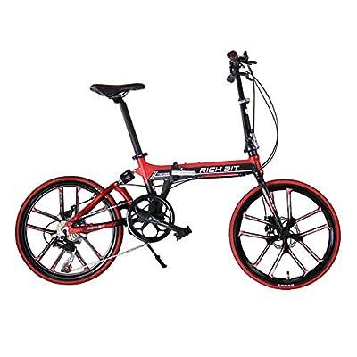 Folding bike Road Bike Comfort bike Black Red 20inch 7 speeds Suspension Aluminum Frame magnescium integrated wheel Disc Brakes 2016 New Updated TP-023-451