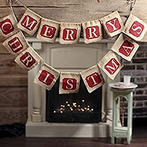 Tinksky Merry Christmas Burlap Banners Garlands for Holiday Party Decoration from Tinksky