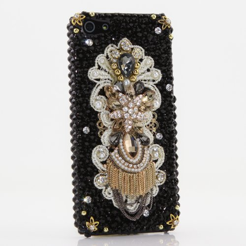 Special Sale Luxury Bling iphone 5 5S Case Cover Faceplate 3D Swarovski Crystal Pearls Black & Gold Diamond Design (100% Handcrafted by BlingAngels)