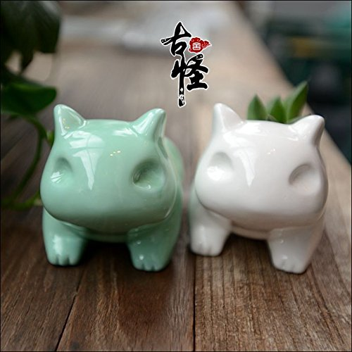 Everyday Better Life Anime Japanese Pikachu Pokemon Bulbasaur Nintendo Game Home Decorative Ceramic Art Vase (Green)