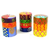 Set Of Three Boxed Hand-Painted Candles - Shahida Design
