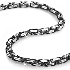 Mechanic Style Stainless Steel Mens Necklace Chain 55 cm (Silver Black) Jewelry