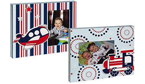 Planes and Trains Blue Striped Wood 4X6 Picture Frame Set - 1