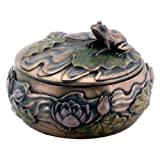 Frog Sitting on Lily Decoration Art Nouveau Design Jewelry Box