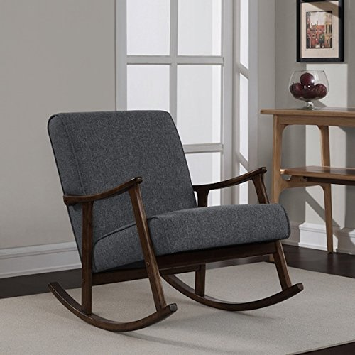 Granite Grey Fabric Retro Wooden Rocker Glider Chair 0