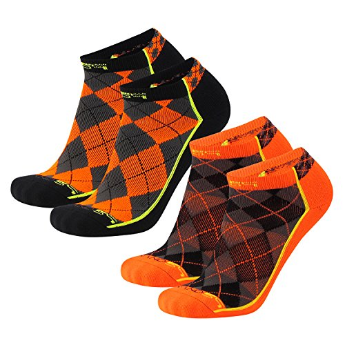 Brand 59 Diamond 2.0 Low Cut Golf Socks (Black/Neon Orange/Graphite