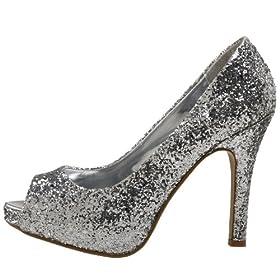 vegan silver glitter heels