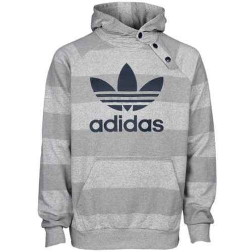 Adidas Mens Originals Striped Trefoil Print Hooded Sweatshirt - Grey Marl - Xs