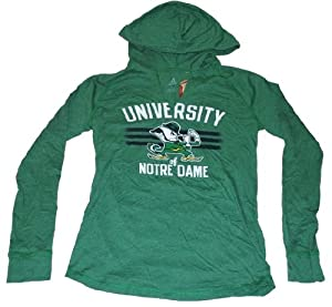 Notre Dame Fighting Irish Adidas Ladies 3 Bar V-Neck Hooded Green T-Shirt (S) by adidas