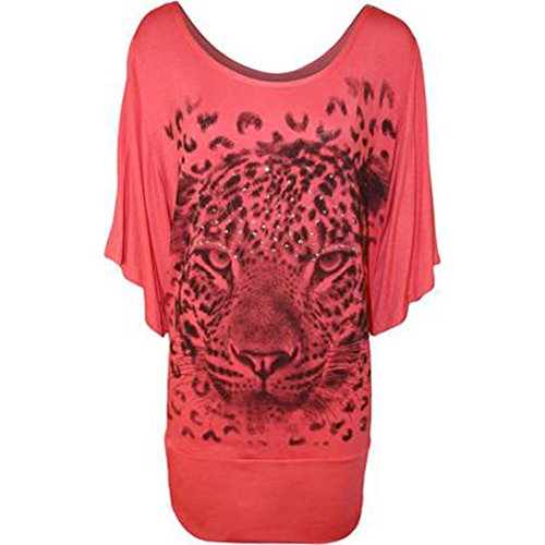 Red Bat wing top diamante leopard to front