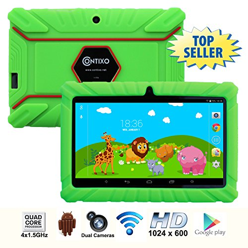 * Memorial Day Special * Contixo 7 Inch Quad Core Android 4.4 Kids Tablet, HD Display 1024x600, 1GB RAM, 8GB Storage, Dual Cameras, Wi-Fi, Kids Place App & Google Play Store Pre-installed, 2015 May Edition, Kid-Proof Case (Green)