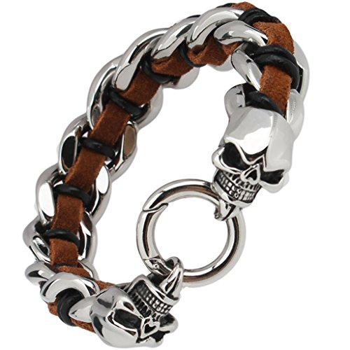 Mens Stainless Steel Leather Bracelet Brown Punk Skull Length 20CM – Adisaer Jewelry