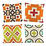 ShopMantra Simple Patterns Printed Cushion Cover Set of 4 16*16 Inch Multicolor Cushion Cover