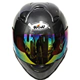 Motorcycle-Street-Bike-Fiber-Carbon-Black-Full-Face-Adult-Helmet-Bonus-One-Clear-Lens