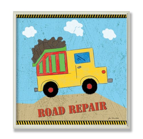 The Kids Room by Stupell Road Repair Yellow Dump Truck Square Wall Plaque