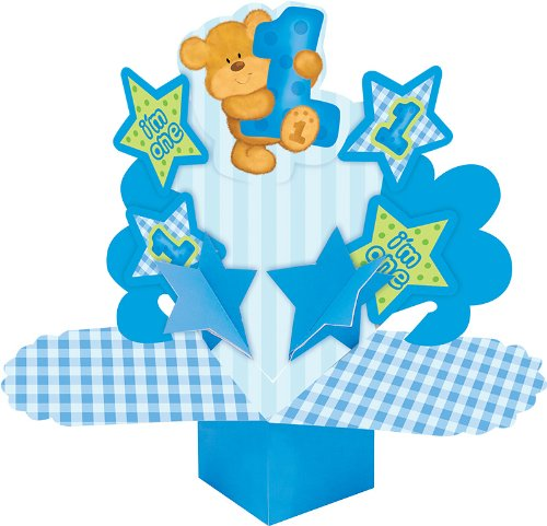 Creative Converting Bears First Birthday Dimensional Paper Centerpiece, Blue - 1
