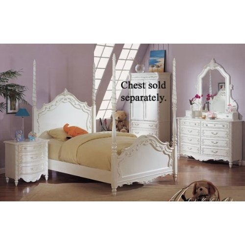 Girls Four Poster Bed 4pc Twin Size Poster Bedroom Set