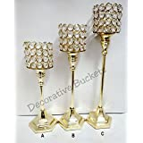 Decorative Buckets:diwali Decorations : GOLDEN CRYSTAL CANDLE HOLDER :SET Of 3 :crystal Candle Stand : DIWALI...