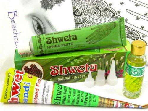 Powder & Pre Mixed Paste Henna Tattoo Sampler Pack Starter Kit, Great