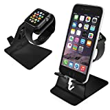 Orzly® – DuoStand Charge Station for Apple Watch & iPhone – Aluminum Desk Stand Cradle in BLACK with Built-In Insert Slots for both Grommet Wireless Charger and Lightning Cable for use as a fully functional Charging Station / Dock for both your Apple Watch & iPhone Simultaneously – Fits iPhone Models: 5 / 5S / 5C / 6 / 6 PLUS and both 42mm & 38mm sizes of 2015 Watch Models (Original BASIC Model / SPORT Version / and EDITION Models)