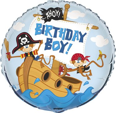 "Happy Birthday Monkey Pirate Ship AHOY Design 18"" Party Mylar Foil Balloon"
