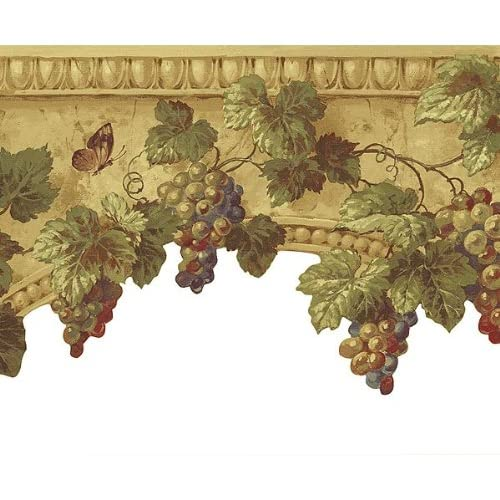 Grape on Stone Diecut Light Beige Wallpaper Border